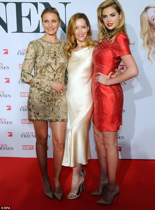 On the promotional trail: The three actresses are seen promoting the film at the Mathaser Filmpalast theatre in Munich, Germany last week