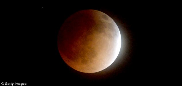 A bad omen? Some Christians were concerned that the strange celestial event (pictured) could mark the start of terrible events and drew on a passage from the Bible that says: 'The sun shall be turned into darkness, and the moon into blood, before the great and the terrible day of the Lord comes'