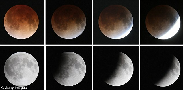 Phases: Although lunar eclipses happen multiple times in a year during a full moon, this eclipse is a particularly unusual viewing opportunity for North America. This composite image shows the transition during the total lunar eclipse from the bottom left-hand corner to the top left