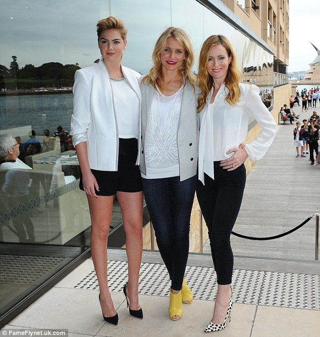 Here come the girls! Cameron, pictured with The Other Woman co-stars Kate Upton and Leslie Mann, in Sydney, Australia, on Tuesday, explained she now looks to her female friends to satisfy her varying needs