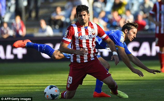 Threat: Diego Costa is set to face Chelsea despite suffering a freak injury at the weekend (below)