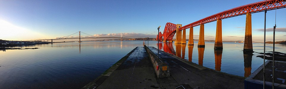 Panoramic industrial landscape: This photograph of South Queensferry in Edinburgh was taken by Thomas Glasby from the lifeboat station