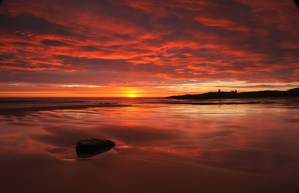 Bathed in red: This breathtaking photograph by Donald McClymont shows the landscape at Dunstanburgh, Northumberland, as the sun rises, turning the sky red