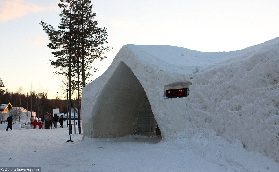 In the black: The thermometer on the SnowHotel shows a warm (ish) zero degrees inside