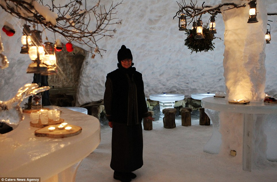 Thrills and chills: While the hotel may look chilly, apparently its interior temperature remains at a 'balmy' zero degrees