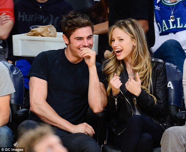 Dating: Zac Efron and Halston sage are said to be an item, pictured earlier this month at a Los Angeles Lakers basketball game