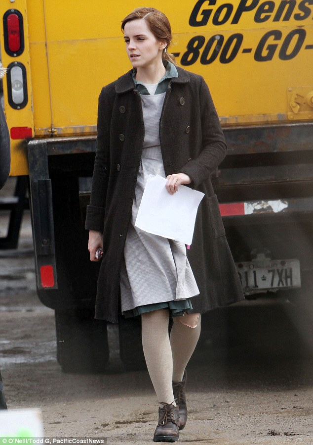 Happy Birthday! Emma Watson spent her 24th on the set of her new movie Regression in Toronto, Canada on Tuesday looking very under-dressed for a birthday celebration as her character