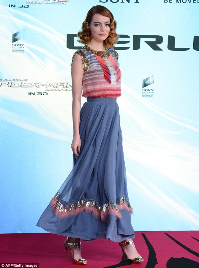 Stunning: Earlier that night Emma dazzled in a striking Chanel dress at the Berlin premiere of The Amazing Spider-Man 2: The Rise Of Electro