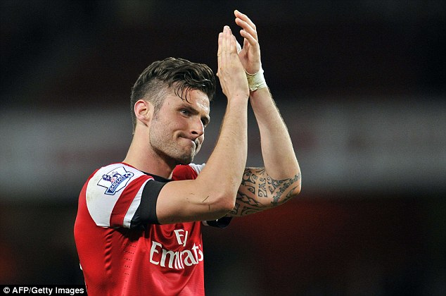 On strike: Giroud gave Arsenal a lead that they never looked like relinquishing
