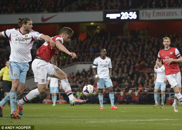 Class act: Olivier Giroud fired Arsenal ahead with a magnficent strike
