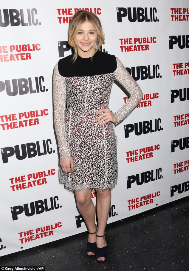 Her off-Broadway debut: Moretz appeared ecstatic and happy to be in attendance of her off-Broadway debut