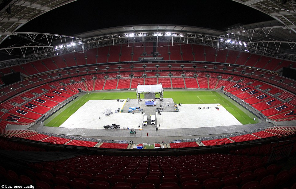 Testing: Wembley is converted into a boxing venue as a rehearsal for the bout on May 31