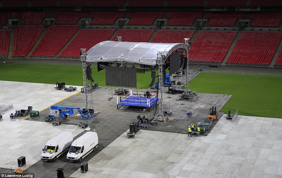 Race against time: Organisers have around 24 hours to prepare the ring after England's friendly
