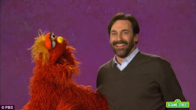'Hamming' it up: Jon Hamm appeared in a Sesame Street segment titled 'Jon Hamm and Murray Get Emotional' posted on Tuesday