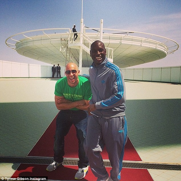 'We got 2 days off!!! Whoa!!! #Dubai #Happy #Fast7 energy..... Vin love you bro!!!' Tyrese happily played tour guide as he showed his long-time friend and co-star around his 'second home'