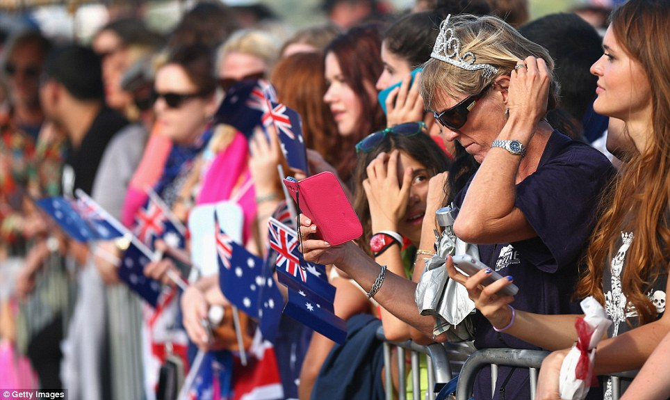 Anticipation: Crowds qued for hours to await the arrival of the Duke and Duchess