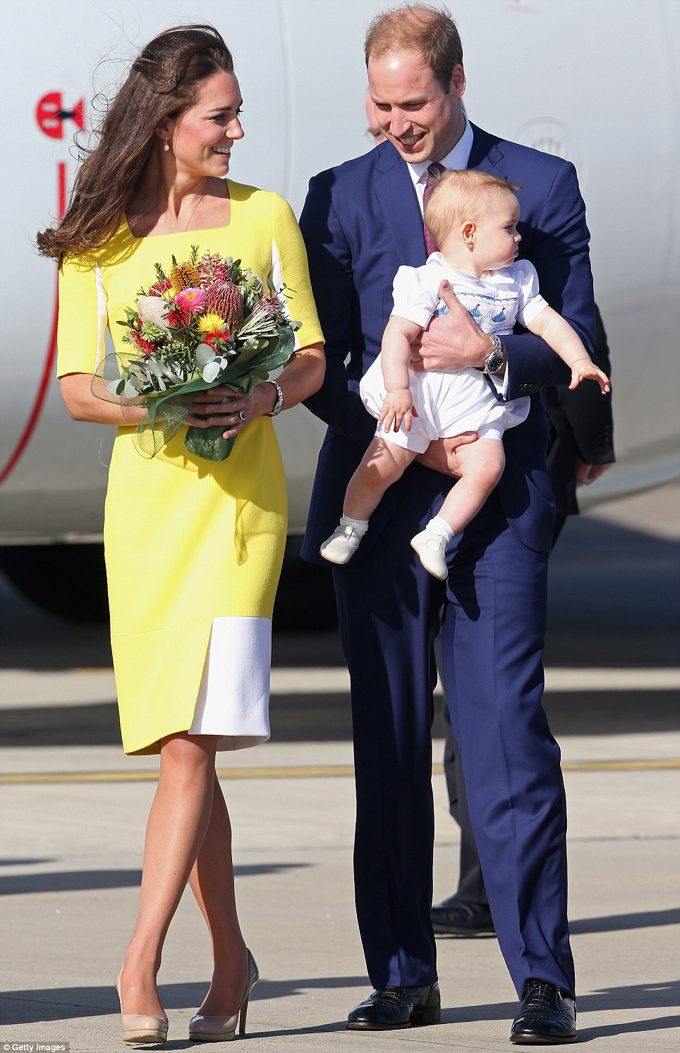 Man of the moment: Earlier in the afternoon Prince George stole the show when the family touched down in Sydney