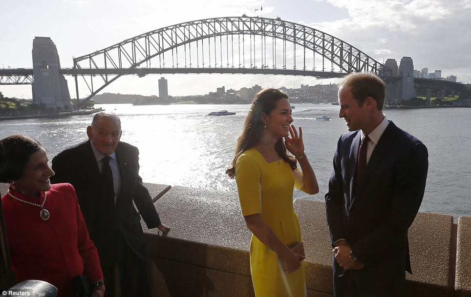 Welcome to Sydney! The Duke and Duchess of Cambridge attended a welcome ceremony at the Sydney Opera House shortly after landing in Australia