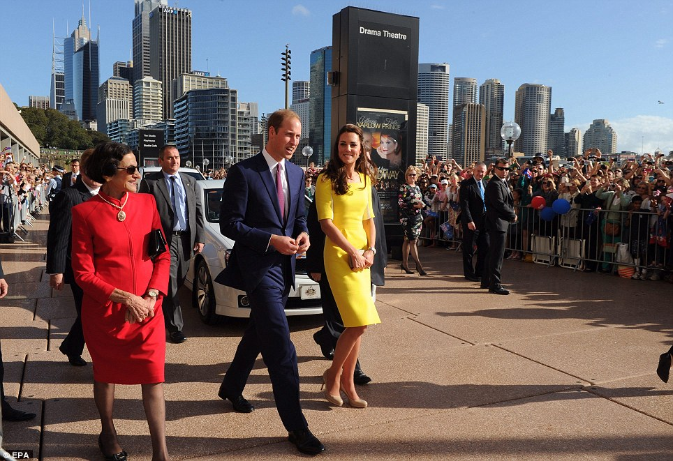 City skyline: Thousands cheered and looked on as the Royals made their way along the foreshore