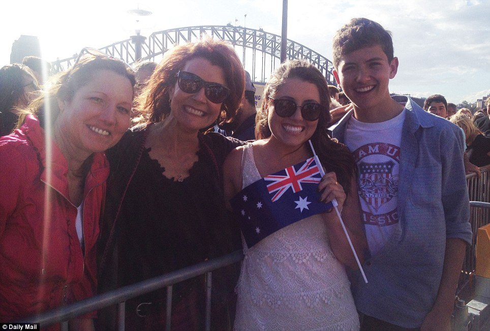 They've come a long way: The Hale family from America joined their relatives in Sydney to catch a glimpse of the royal couple