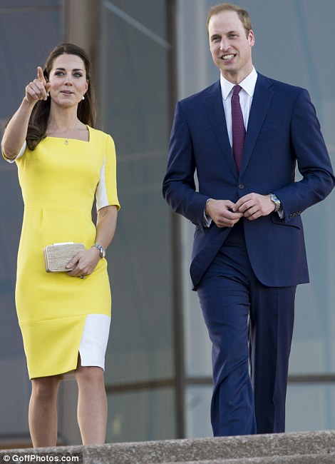 Warm welcome: The Royal couple waved as they began to descend the steps of the iconic Australian landmark