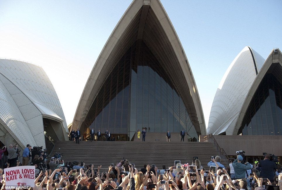 Huge support: The crowd erupted in cheers as the Duke and Duchess emerged from inside the Opera House