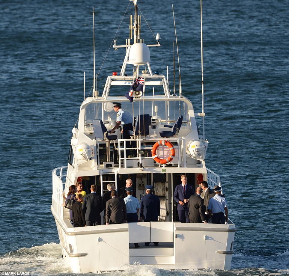 The Duke and Duchess were ferried from their reception at the Sydney Opera House by a police escort