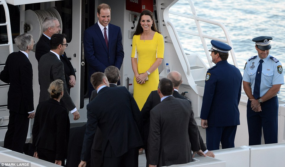 On the water: After the welcome ceremony, the Duke and Duchess were whisked across the harbour on a boat