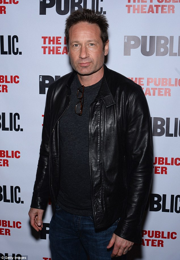 Fashionable in leather: David Duchovny appeared thoughtful while wearing a fashionable black leather jacket