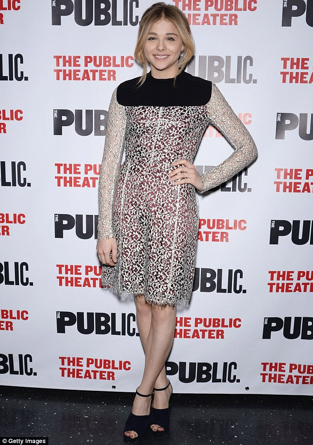 Fashion-forward! Chloe Moretz looked elegant in a lace ensemble while at the opening night for The Library in New York City on Tuesday
