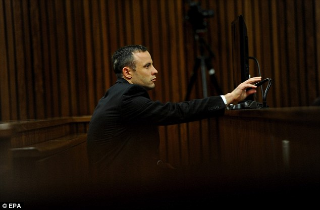 Stressful: Pistorius was back in the dock after seven days on the witness stand, five of which were under fierce cross-examination from prosecutor Gerrie Nel