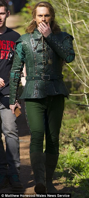 In character: Peter Capaldi didn't wear medieval dress but guest star Tom Riley did, and looked rather like Robin Hood
