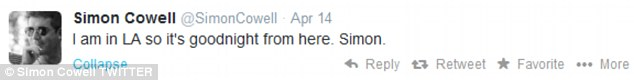 A message: Simon keeps his fans in the loop, and tweeted telling them all he was in Los Angeles earlier this week
