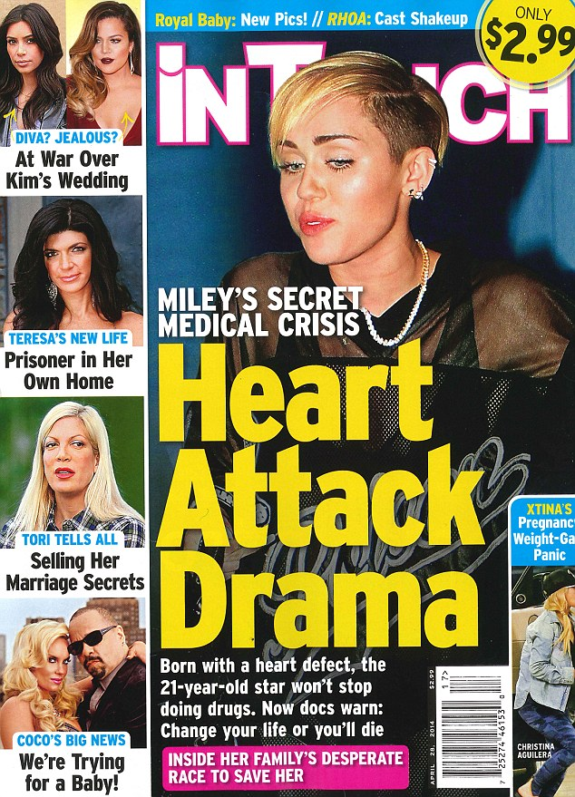 Her health issues are serious: Miley Cyrus, who was hospitalized on Tuesday after an allergic reaction to antibiotics, has a heart problem that could lead to a stroke, according to the Wednesday issue of InTouch