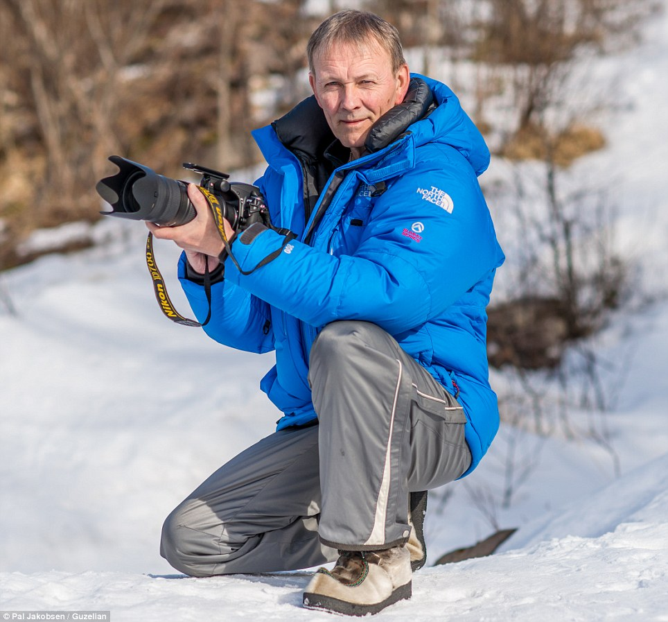 Professional: The stunning photographs were captured by wildlife photographer Pal Jakobsen, pictured, from Norway