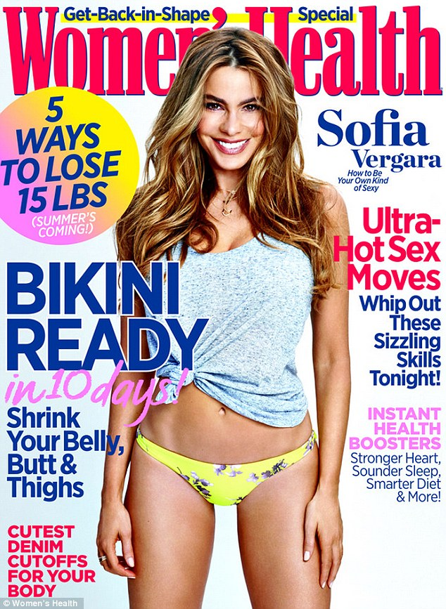 Beach babe: Sofia Vergara shows off her taut stomach and slender limbs in a floral bikini for the May issue of Women's Health