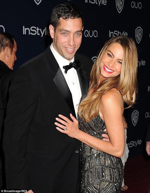 Happy couple: The Colombian bombshell with her fiance, businessman Nick Loeb at the Golden Globe Awards in January