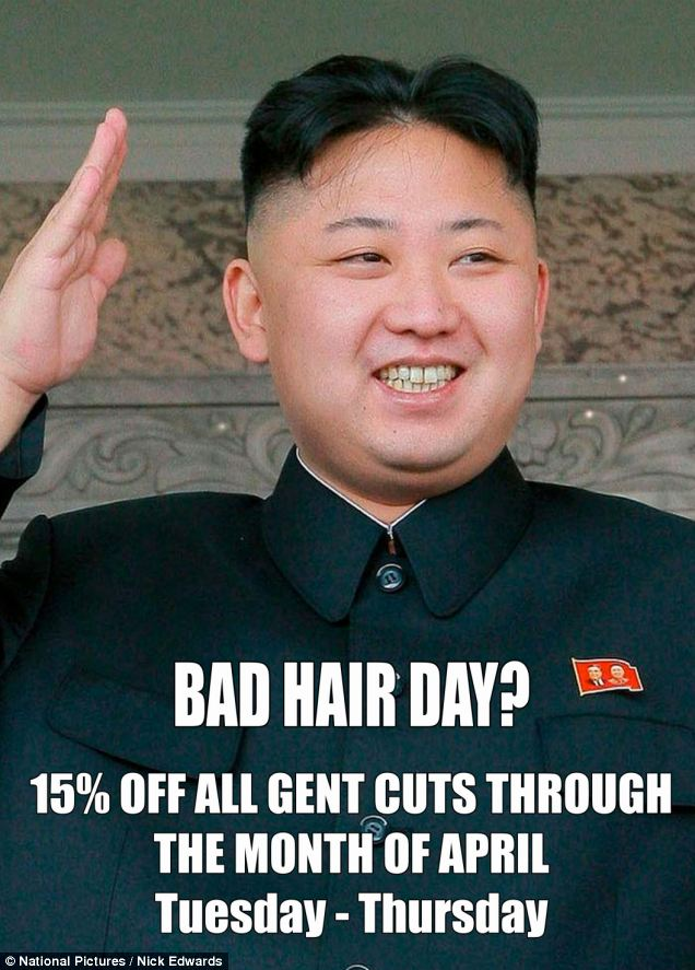 North Korean dictator Kim Jong-Un sent agents from his London embassy  to try and force hairdresser Karim Nabbach from Ealing to remove his cheeky poster