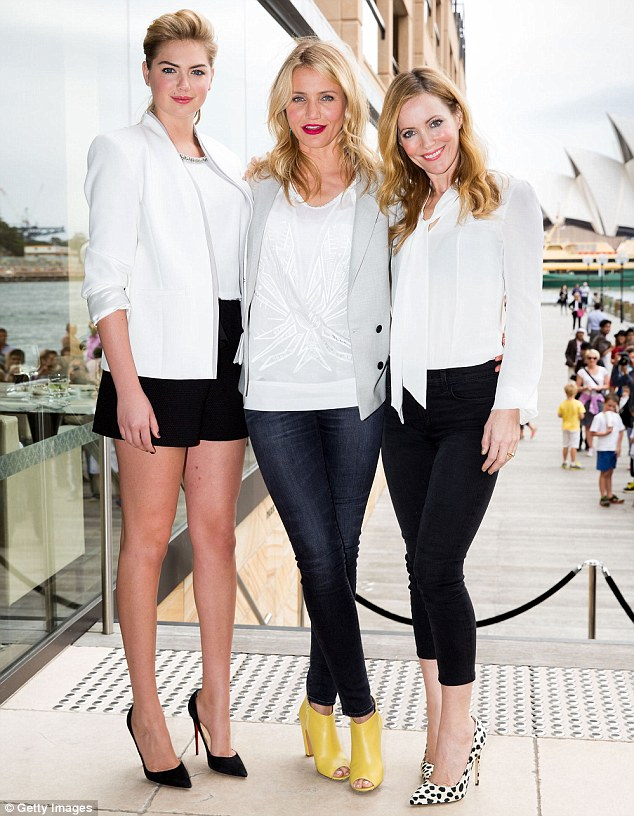 Not interested: Kate Upton confirmed she there's nothing between her and the Sydney Swans player. She's pictured with Cameron Diaz and Leslie Mann in Sydney