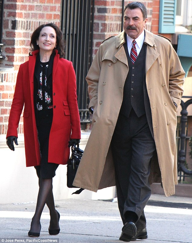 I moustache you a question: Bebe Neuwirth looked like she was about to pose a query to Tom Selleck as they filmed Blue Bloods in New York on Wednesday