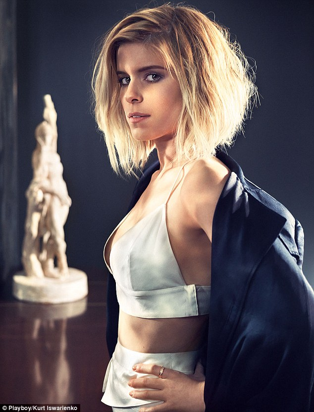 Sultry: Kate Mara reveals her slender frame as she poses for Playboy