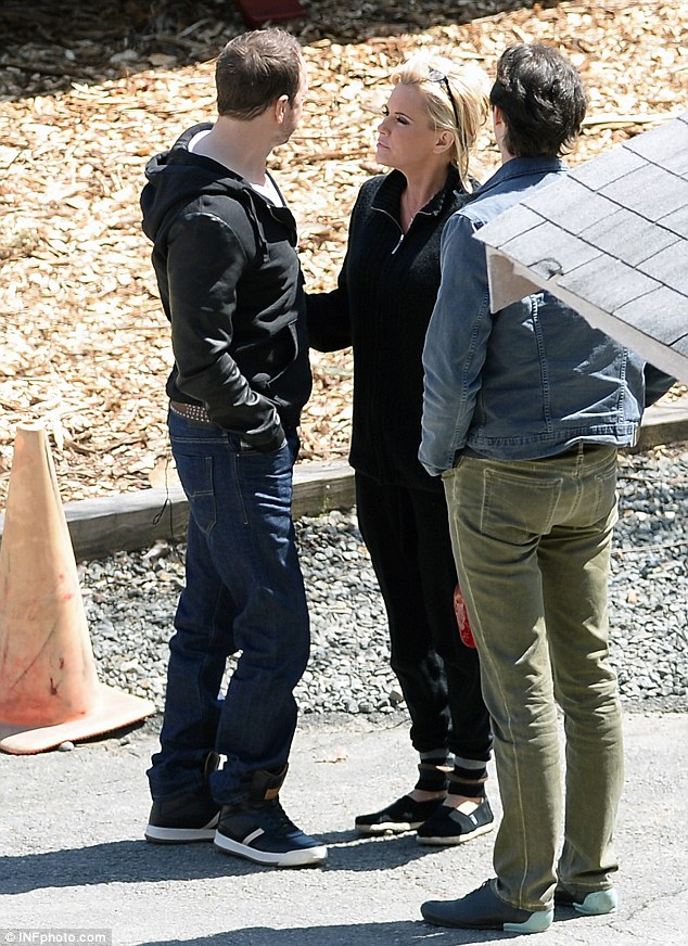 Keeping it casual: Her 44-year-old beau was dressed down in a black jacket over a white shirt, paired with baggy jeans, and black sneakers