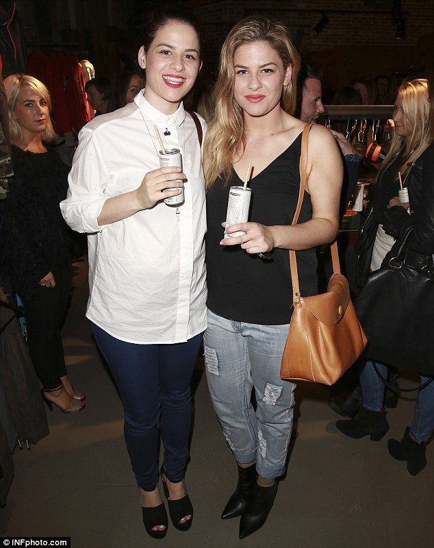 Stylish sisters: Helena and Vikki Moursellas showcased their style credentials in on-trend outfits at the Superdry flagship launch in Melbourne on Wednesday