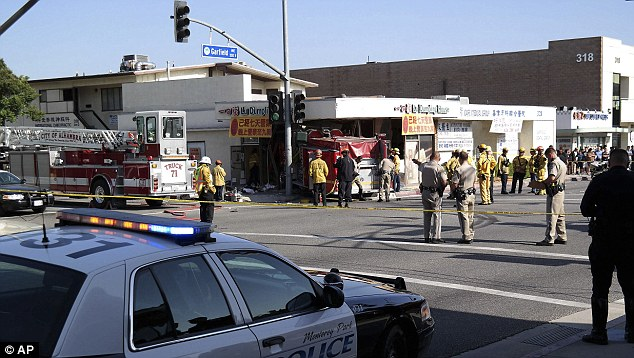 Hurt on the job: A handful of firefighters were injured in the crash but no one died