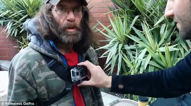 Caught on camera: Homeless people in San Francisco are being fitted with $300 GoPro cameras to reveal what it is like being shunned every day from their point of view. Pictured: Former drug addict Adam Reichart, 44