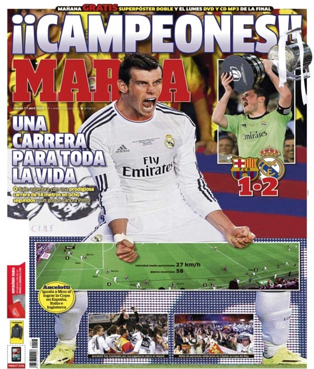 Read all about it: Spanish newspaper Marca had a step-by-step graphic of Bale's wonder goal