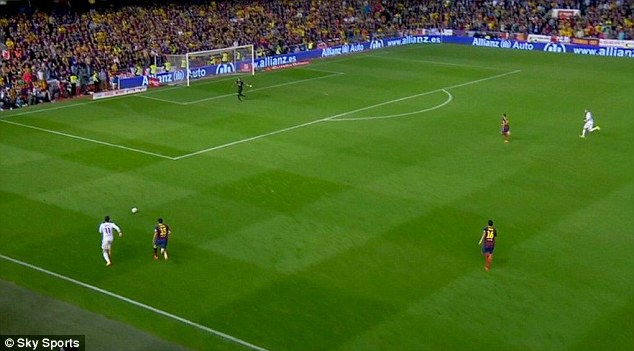 Leaving him behind: Bale gets the ball and himself in front of Bartra as Pinto backtracks in the Barca goal
