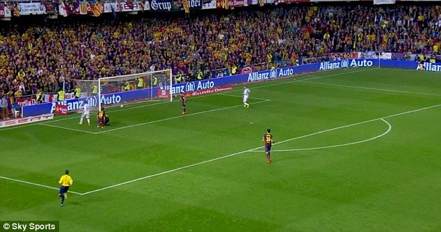 Finishing touch: Bale finds the net as Barcelona players look on helplessly