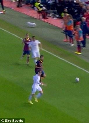 Through: Bale receives the ball