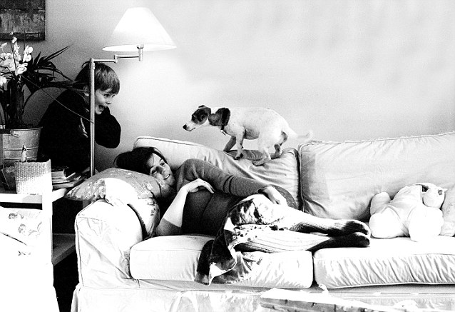 Rachel in recovery, with Edward and Millie the dog